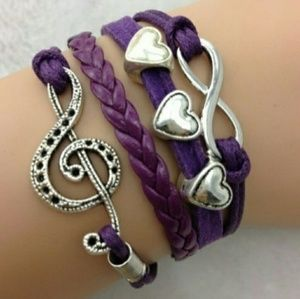 Jewelry - 🆕😎 Purple Music Infinity Love Leather Bracelet